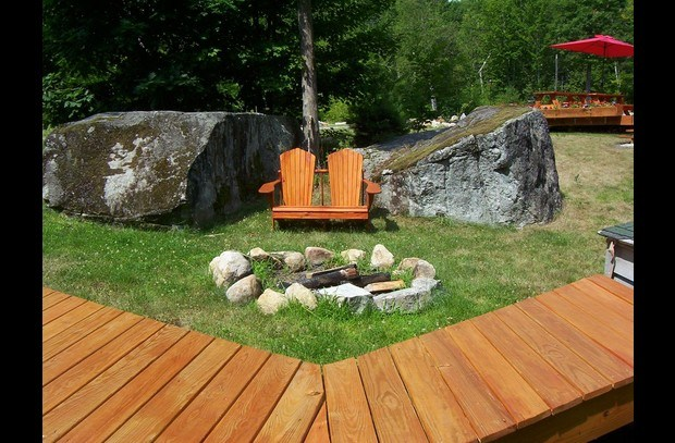 Fire Pit with Glacial Boulders