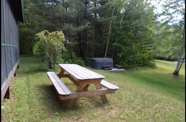 picnic table and hot tub