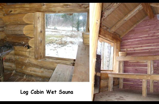 Cedar log sauna - inside